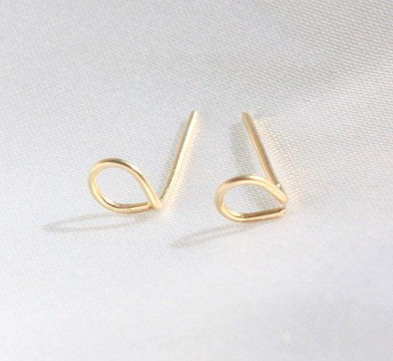 Tiny drop studs drop stud earrings tiny studs by JulJewelry