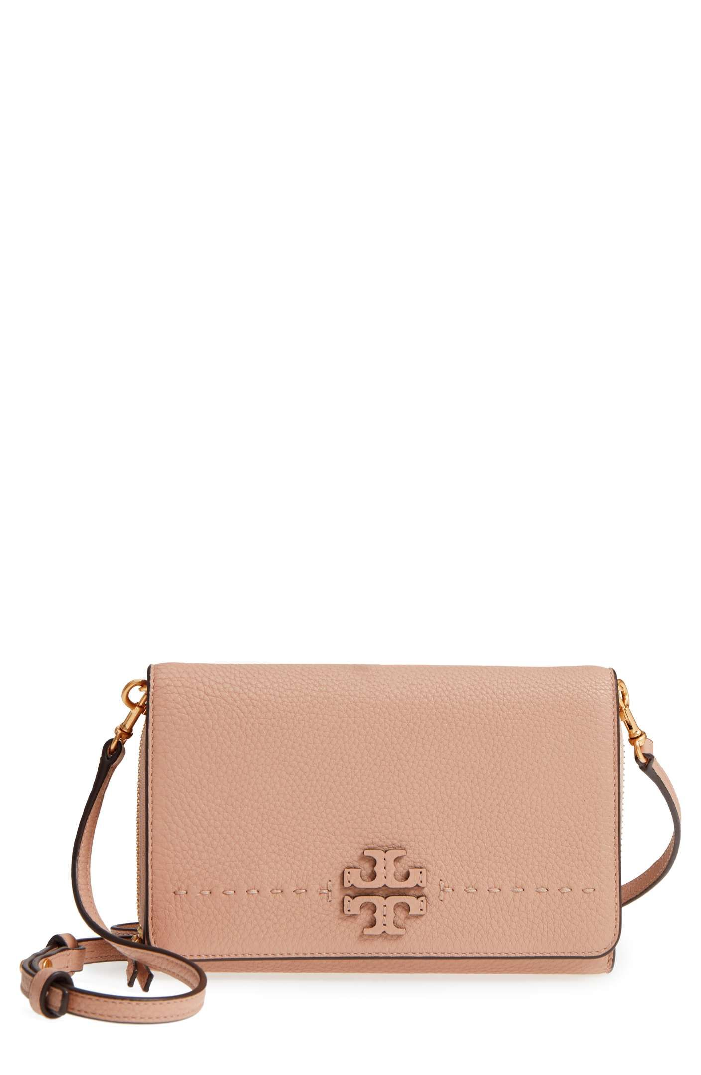 06aeade3ad5 Main Image - Tory Burch McGraw Leather Crossbody Wallet