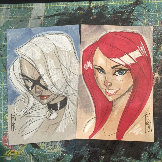 Felicia Hardy and Mary Jane Watson by Tom Hodges