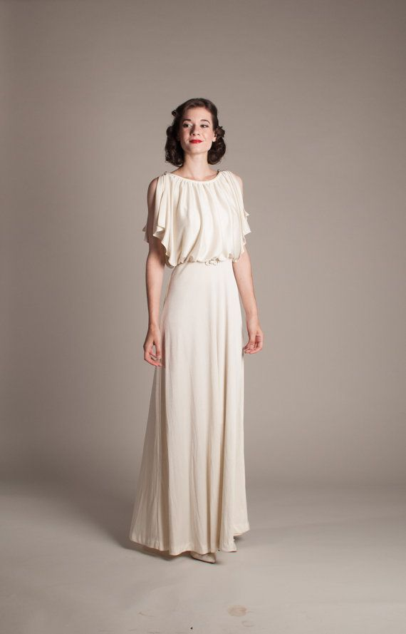 1930s Style Wedding Dress - Vintage 70s does 30s Wedding Dress - Le ...