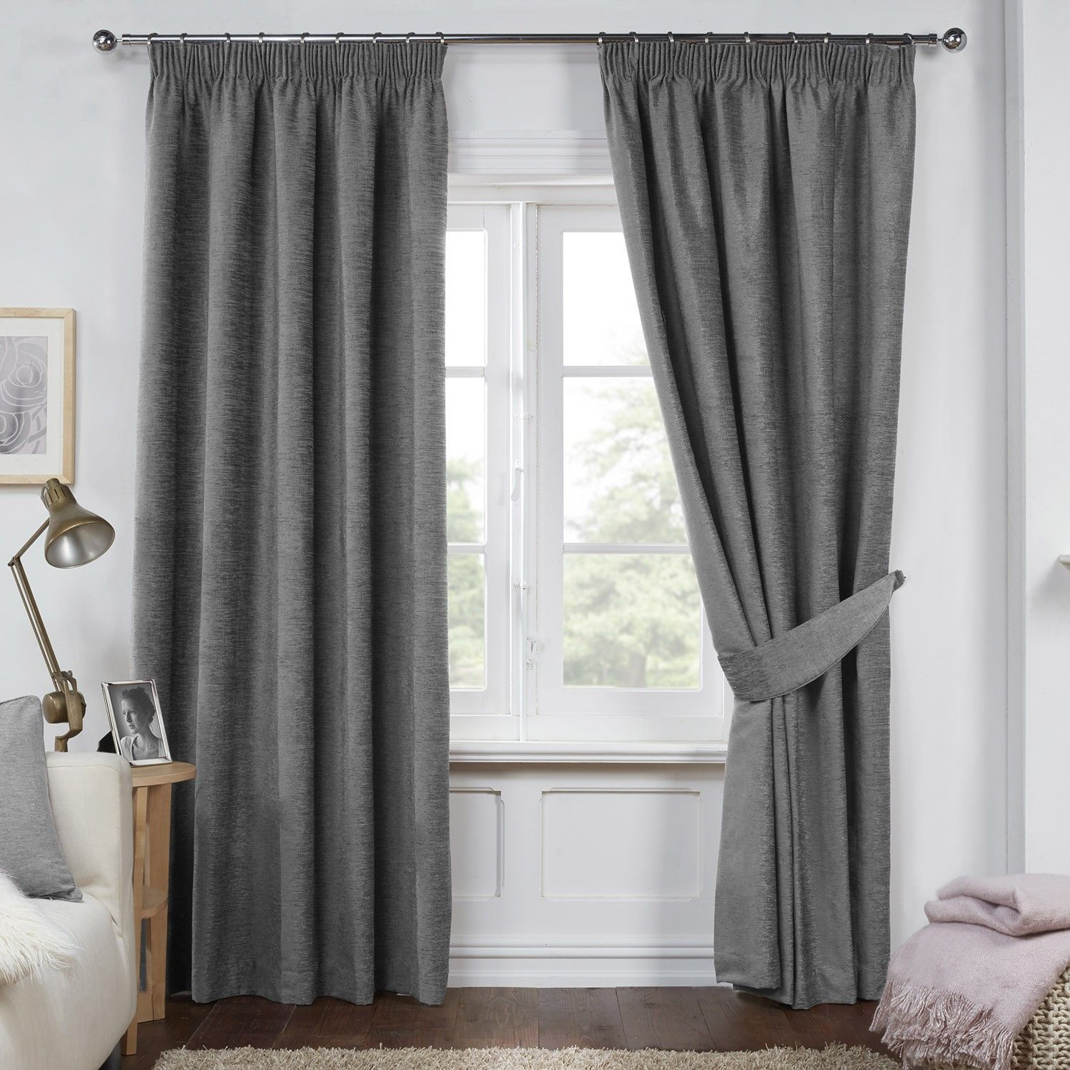 Captivating Dante Charcoal Grey Luxury Soft Chenille Lined Pencil Pleat Curtains (Pair)
