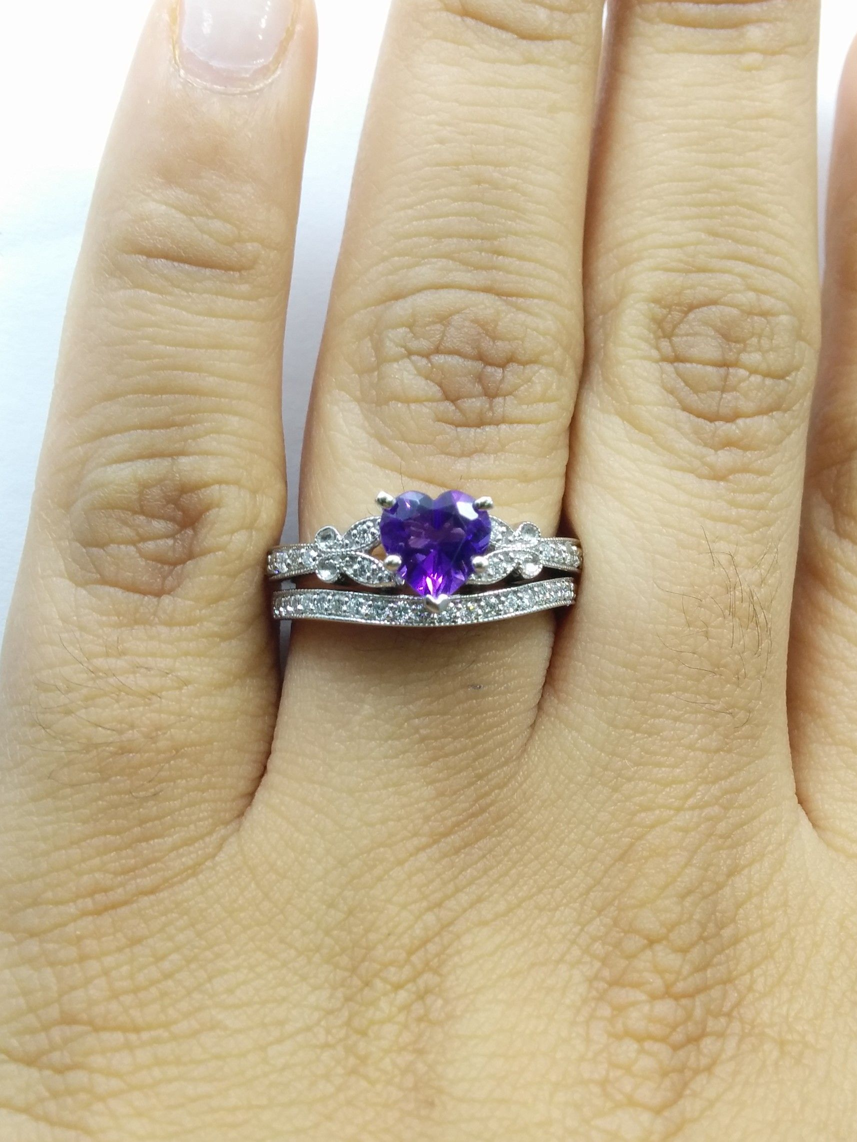 Heart Butterfly Vintage Engagement Ring & Matching Wedding