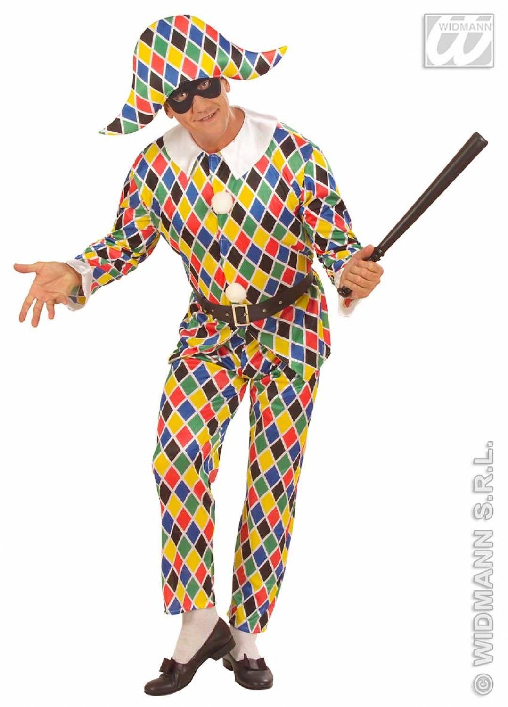 Dit Harlekijn carnavalspak bestaat uit: Shirt met kraag, Broek, Hoofddeksel en Masker. Een heel compleet Harlekijnkostuum voor de echt grapjas dus.