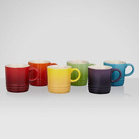 Le Creuset Stoneware Rainbow Espresso Mugs Set Of 6 100ml Mugs Mugs Set Le Creuset Stoneware