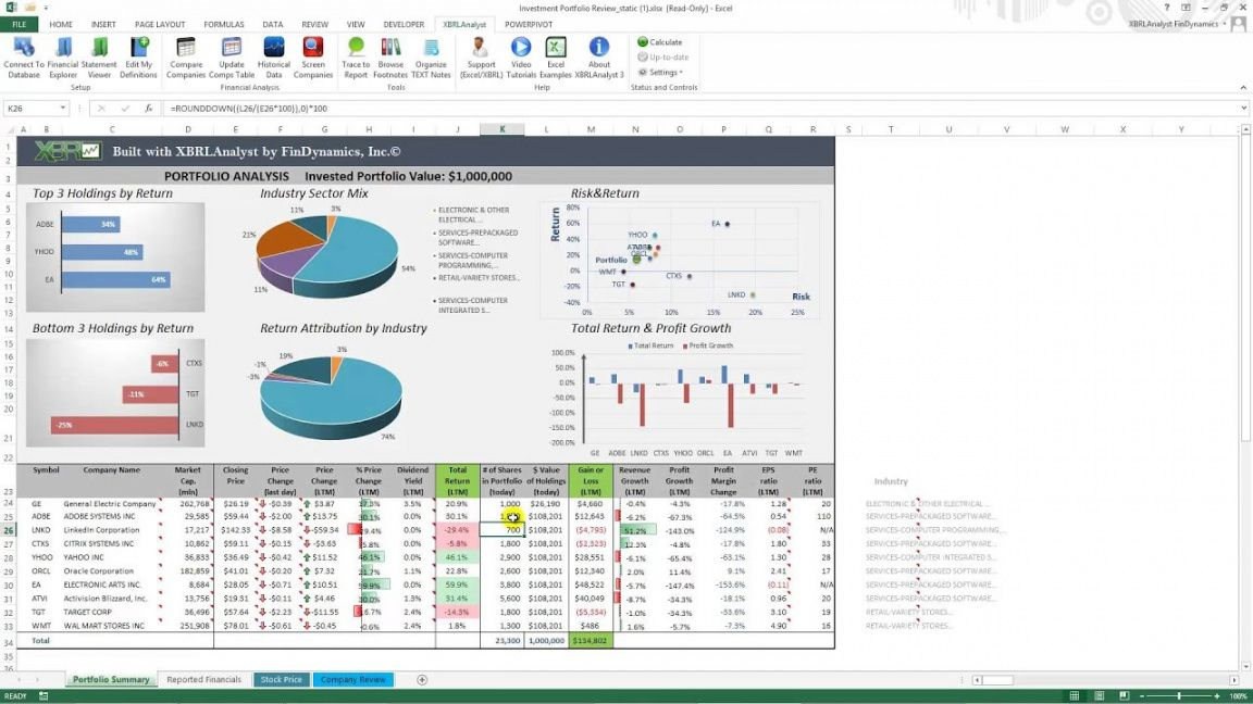 Investment Analysis Excel Template in 2020 Investment