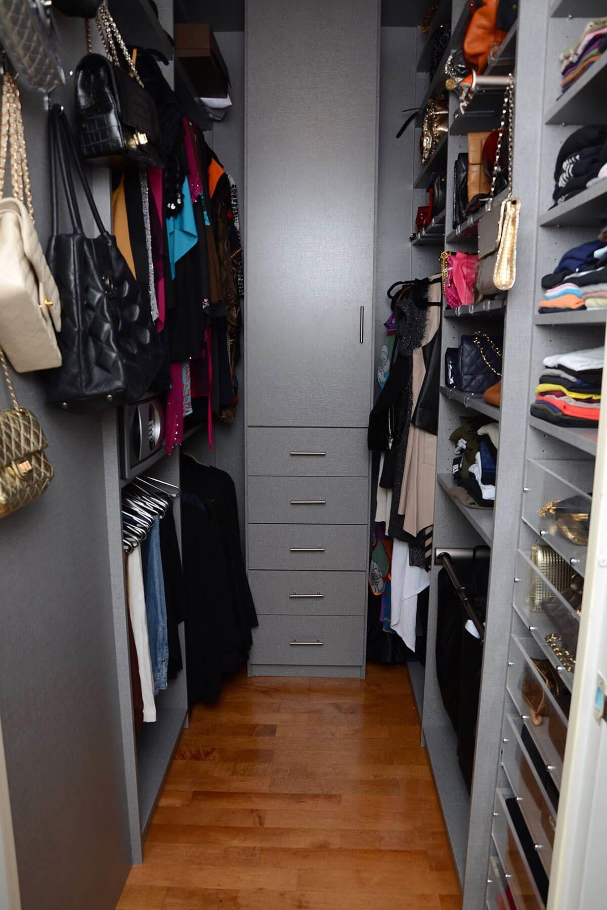 Gray Melamine System Transforms This Narrow Walk In Closet