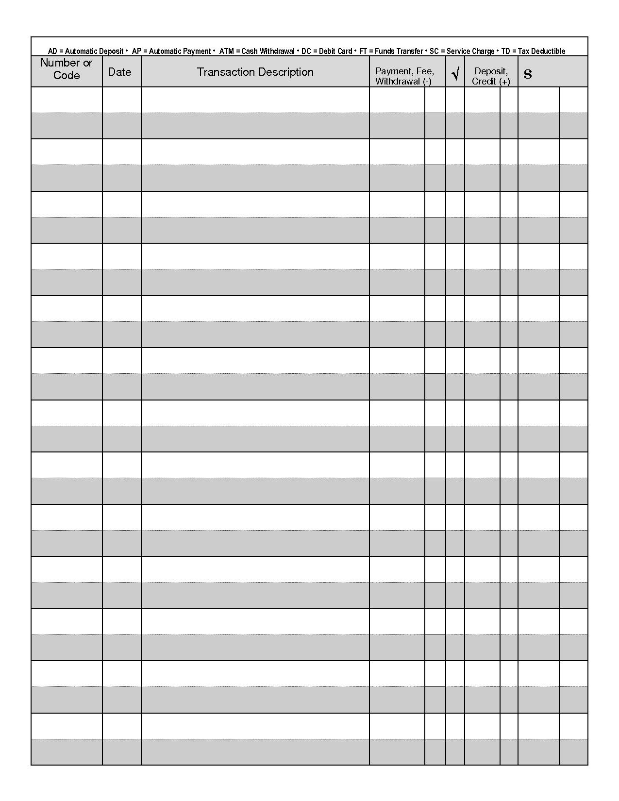 printable check register for checkbook