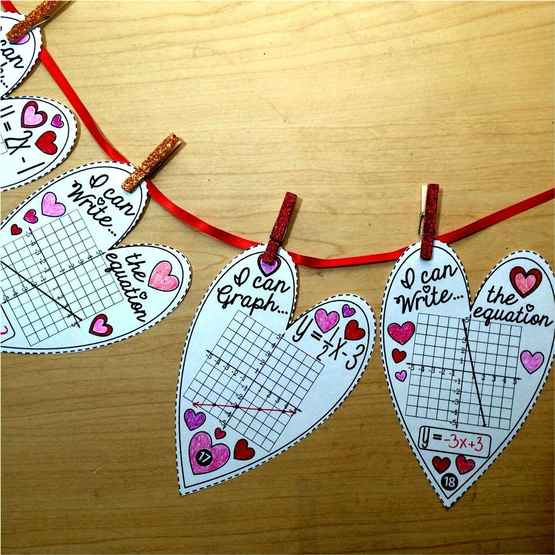 Valentine S Day Algebra Linear Equations Hearts Math Pennant
