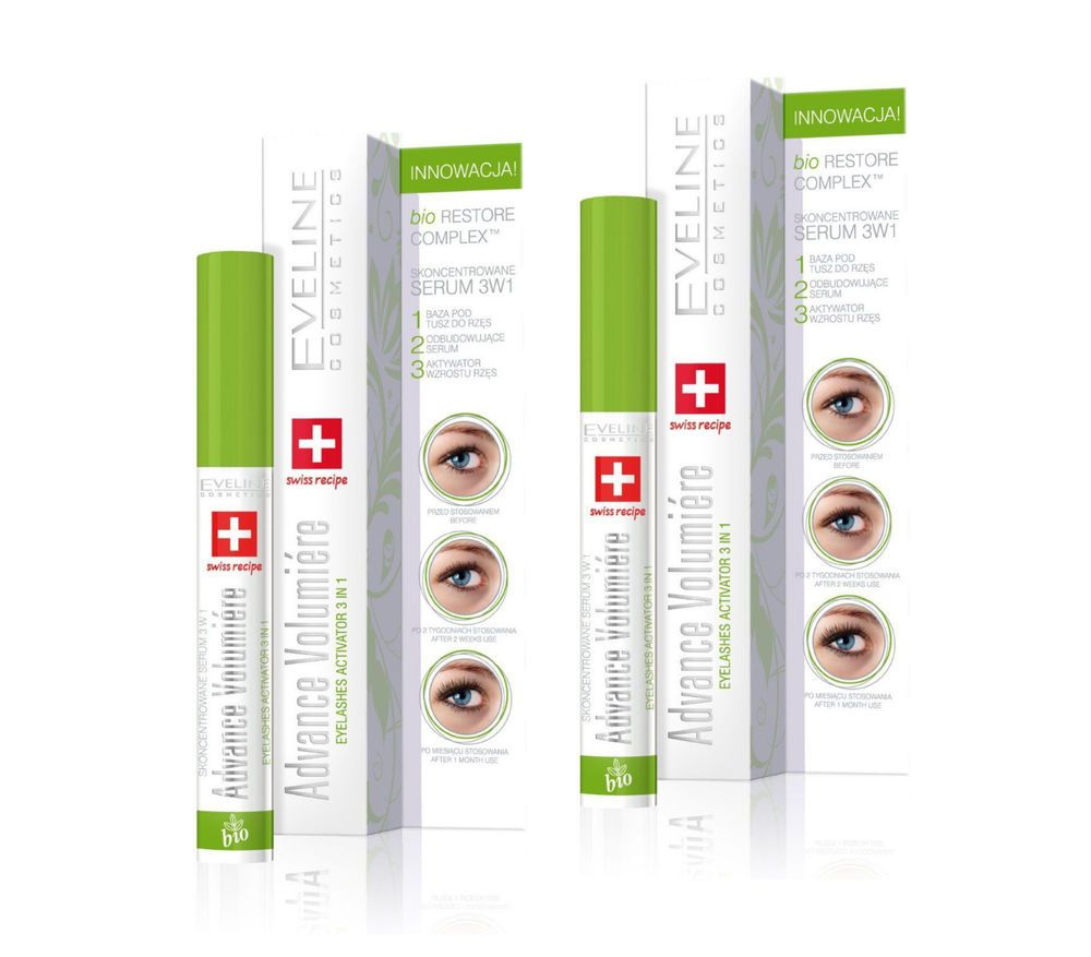 14833e9e80d 2X Eyelashes Concentrated Serum Mascara Primer 3 in 1 EVELINE ADVANCE  VOLUMIÉRE