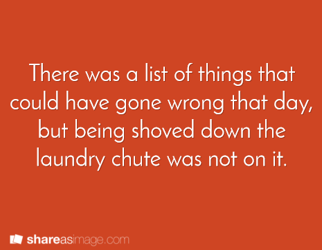 There was a list of things that could have gone wrong that day, but being shoved down the laundry chute was not on it.