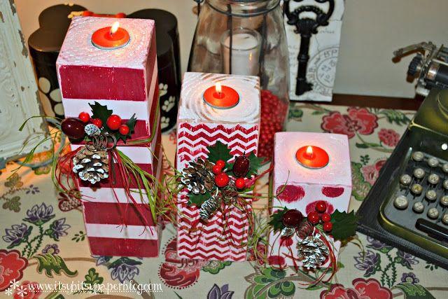 . . . DIY 4x4 Christmas Candlesticks . . .