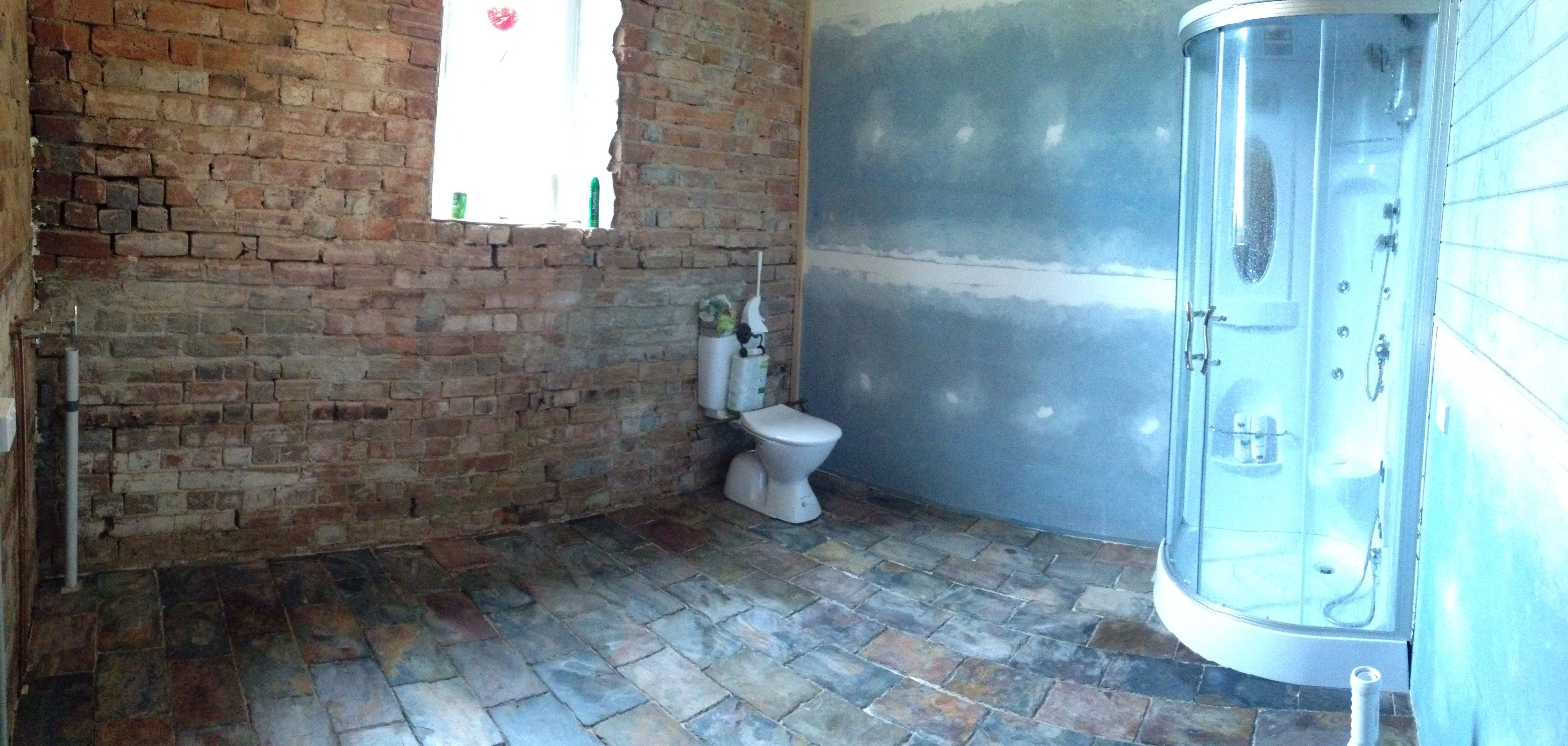 Latest bathroom Do grouting and sealing of slate next week Then ...
