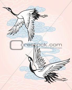 Japanese Style Crane Design Inspire In 2019 Crane Tattoo