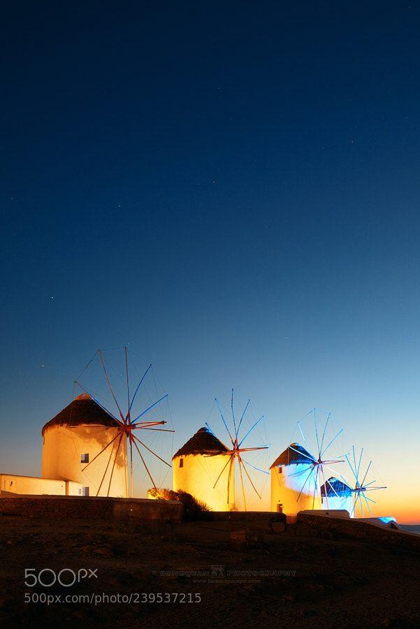 Mykonos windmill night by davidsqd