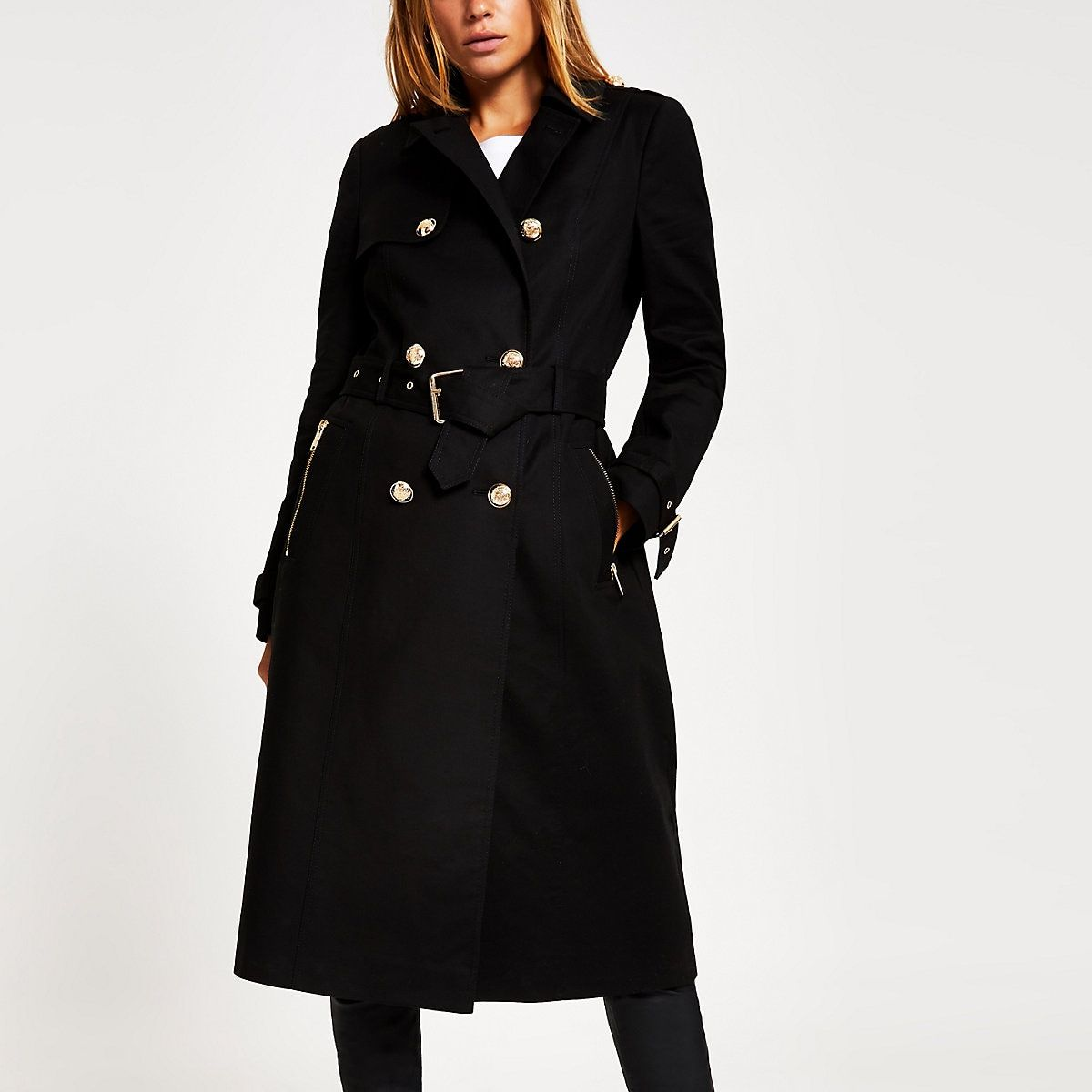 Black double breasted belted trench coat | Belted trench