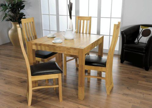 Eve Dining Table 90 Cm Square 4 Chairs Dining Set Oak Top 4