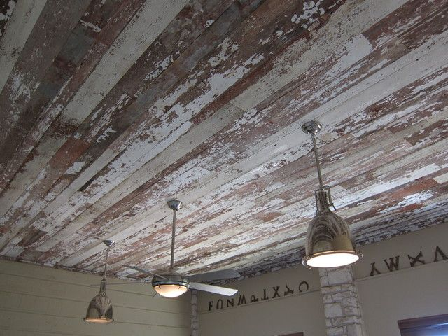 Reclaimed Barnwood Ceiling Eclectic Living Room
