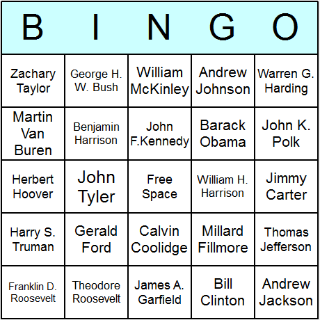 Us Presidents Bingo Card  PresidentS Day    Activities
