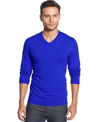 Macy's Alfani RED Slim-Fit V-Neck Sweater, regular price: $60.00