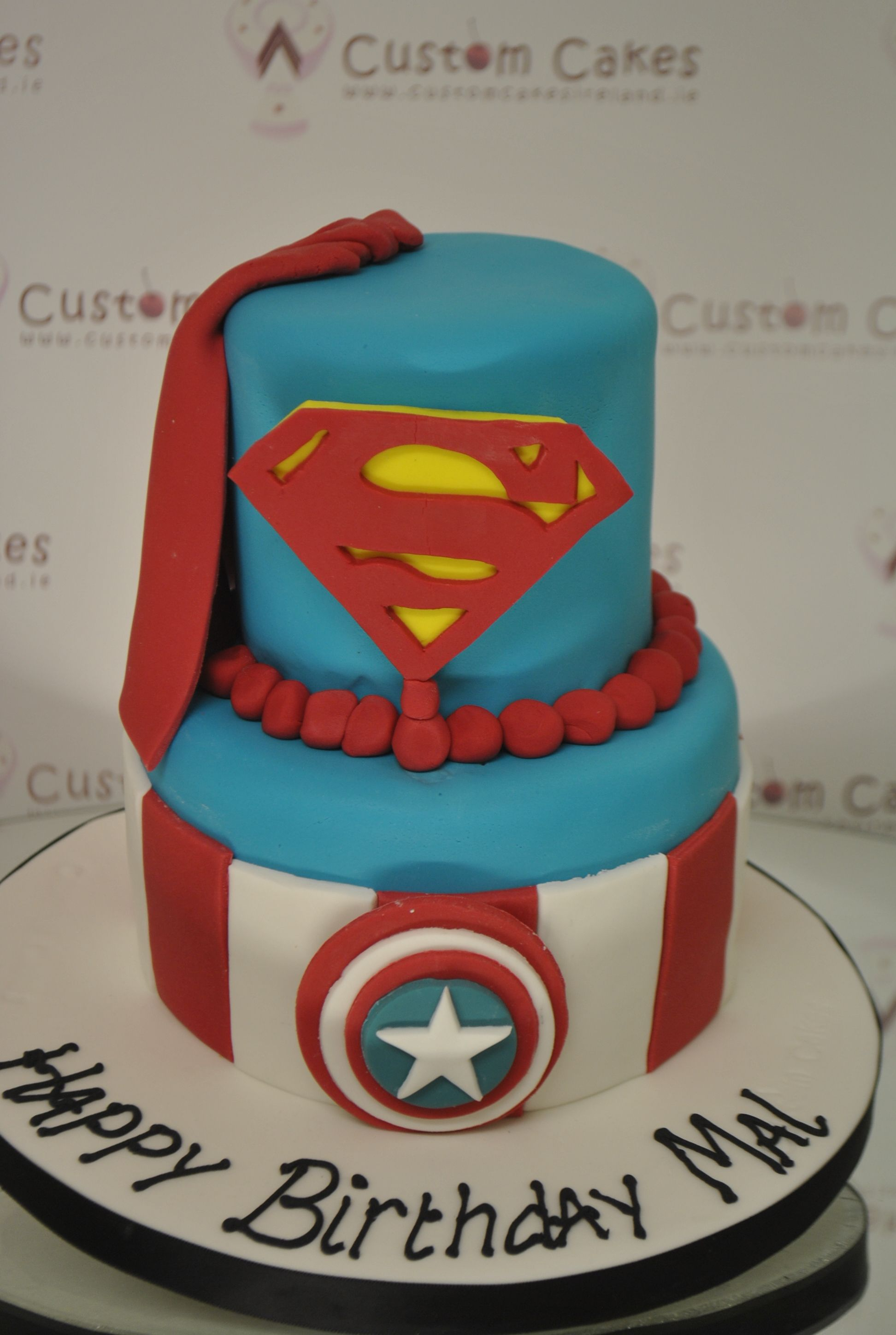 Captain America Superman Themed 2 Tier Cake