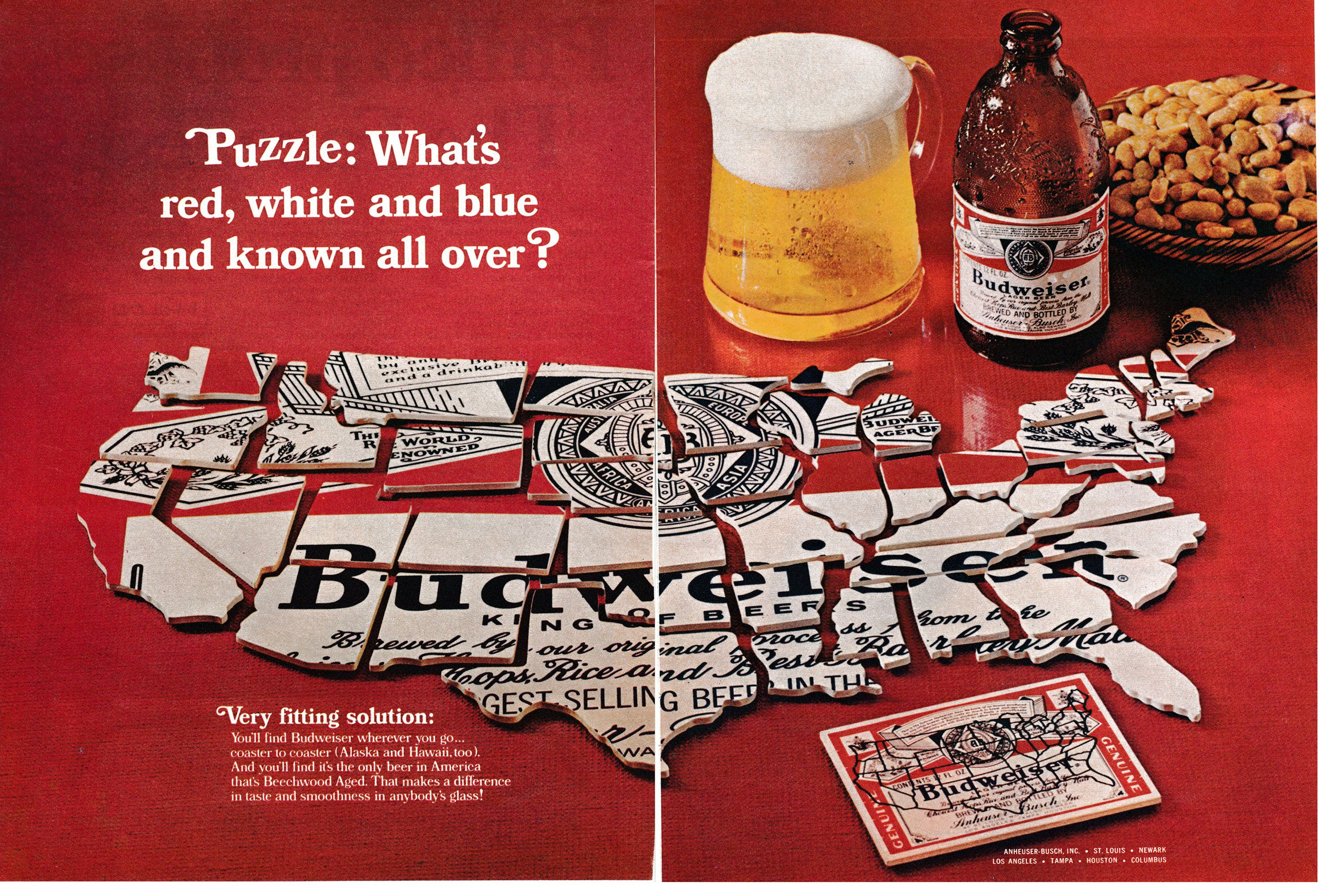 1965 Budweiser Beer Bud Logo Puzzle Of Usa Original 2 Page Etsy Budweiser Beer Budweiser Beer Advertisement