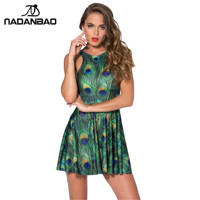 440fca2134e Women Dresses Peacock Feather Dress Sexy Sleeveless Pleated Club Dresses  Siamese Skater Dress Woman Clothing That`s just superb! Visit us