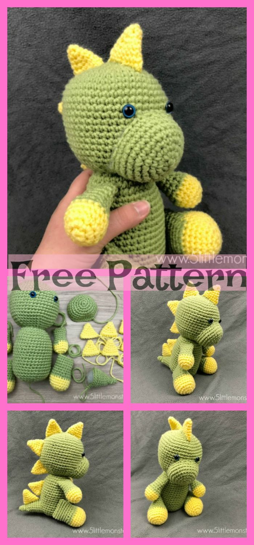 Crochet Dinosaur Softie - Free Patterns #crochetdinosaurpatterns