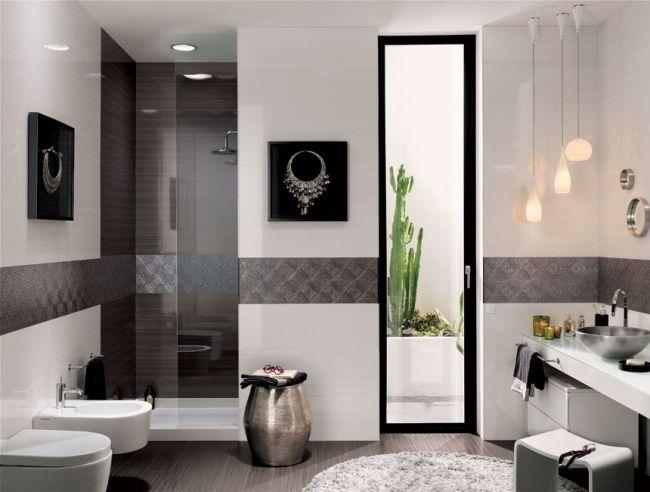 Schwarz Weißes Bad Design Modern Glas Duschkabine | Bad