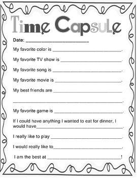 picture regarding Time Capsule Printable Worksheets referred to as Conclusion OF Calendar year: Memory Ebook Season Capsule NO PREP! Grades K-3