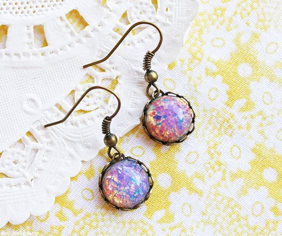 Hey, I found this really awesome Etsy listing at https://www.etsy.com/listing/181615698/round-glass-opal-dangle-earrings-vintage