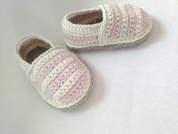 Crochet baby shoes, baby espadrilles, crochet booties, girls shoes ...