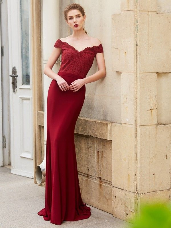 3d7787d591 Stylish Trumpet Mermaid Sleeveless Lace Off-the-Shoulder Spandex  Sweep Brush Train Dresses