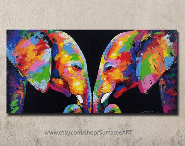 Bunte Elefanten Malen 48cmh X 98cmw Elephant Painting Colorful Elephant Elephant Painting Canvas
