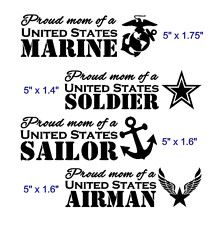 Proud Mom of a United States Soldier Marine Airman Sailor 5 Inch Vinyl Window Decal - FREE Shipping mother Army Marines Navy Air Force