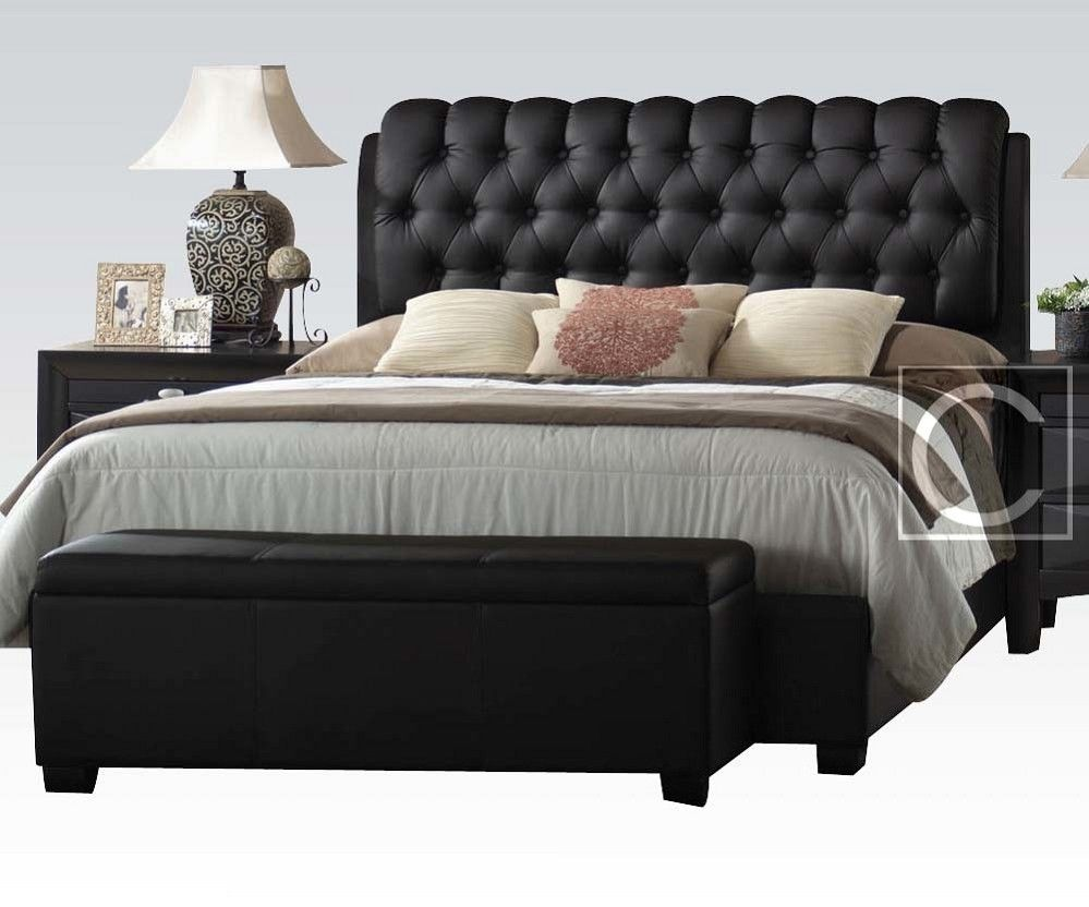 king size button tuff plush headboard black leather bed frame  - king size button tuff plush headboard black leather bed frame