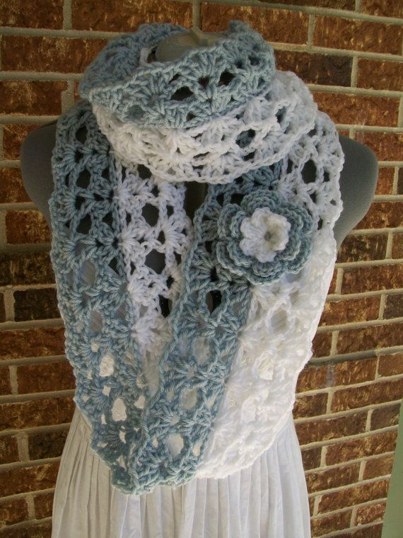 Long Lacy Scalloped Crochet Infinity Scarf Cowl In Silver Blue And