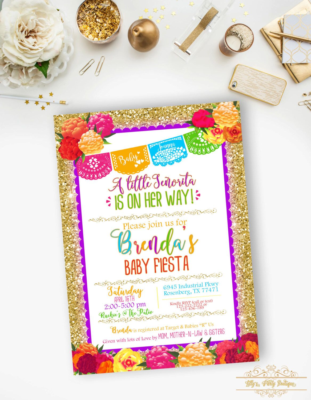 Mexican Fiesta Baby Shower Invitation, Fiesta Floral Gold Glitter ...