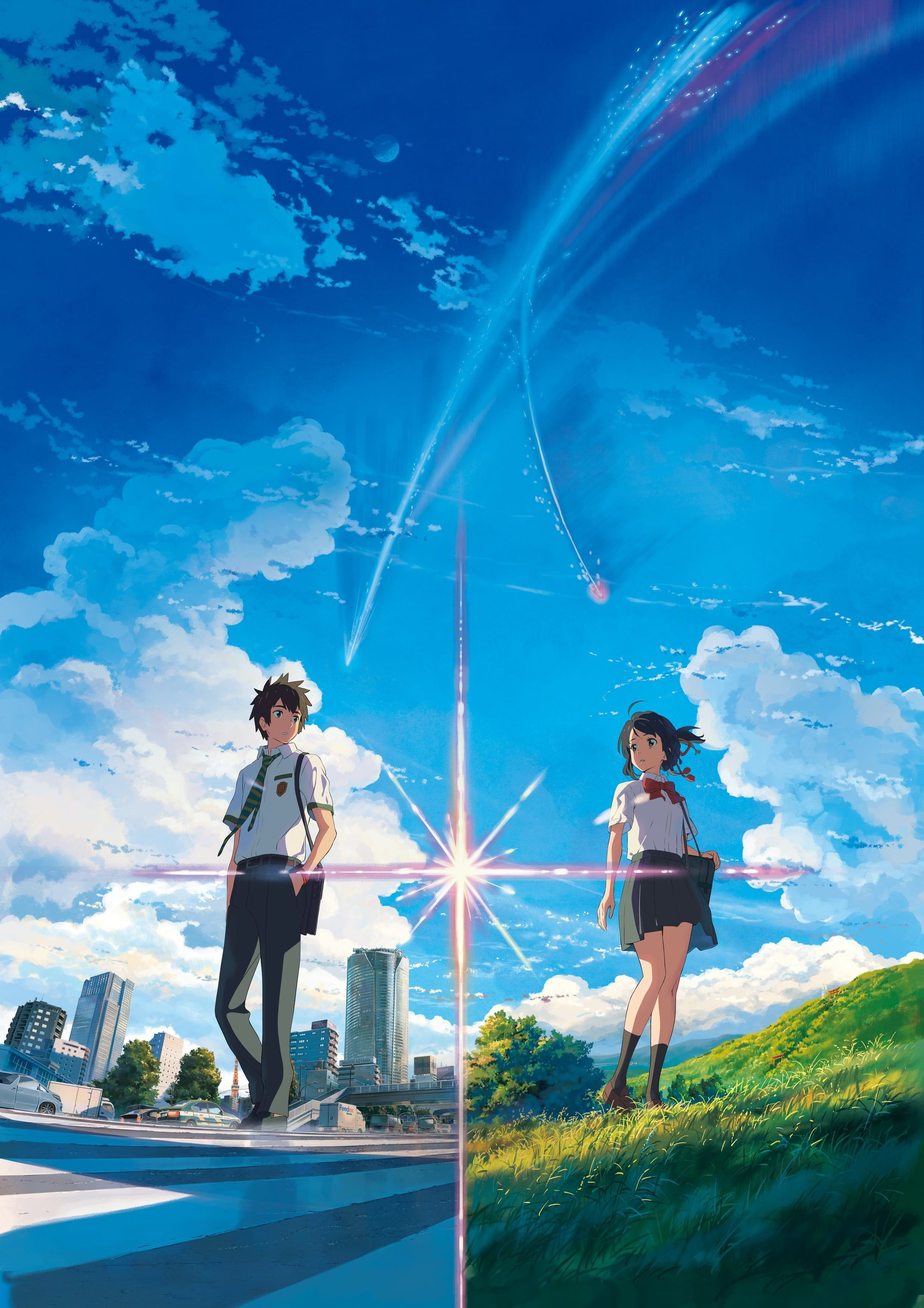 Your Name anime characters #anime anime girls #landscape Kimi no Na Wa Miyamizu Mitsuha Tachibana Taki #street #grass #skirt #knee-highs #clouds #sky #2K #wallpaper #hdwallpaper #desktop
