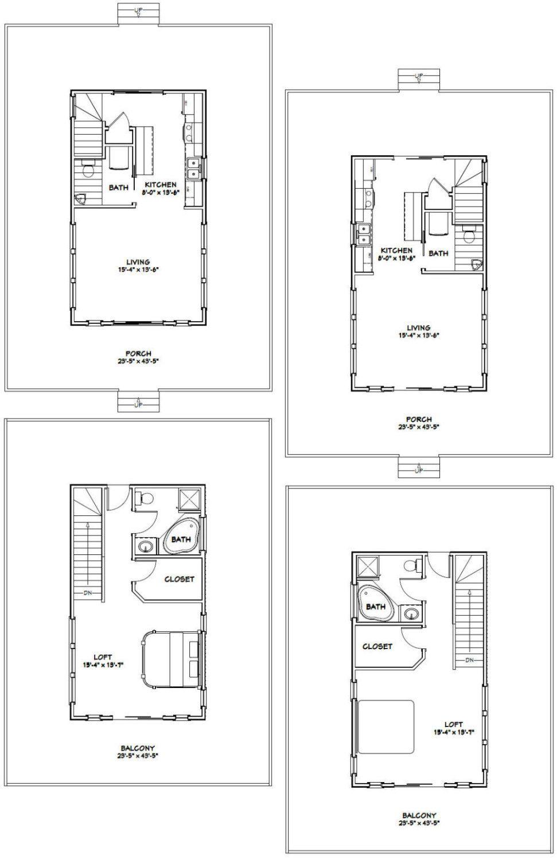 16x28 Tiny Houses 1 Bedroom 1 5 Bath Pdf By Excellentfloorplans