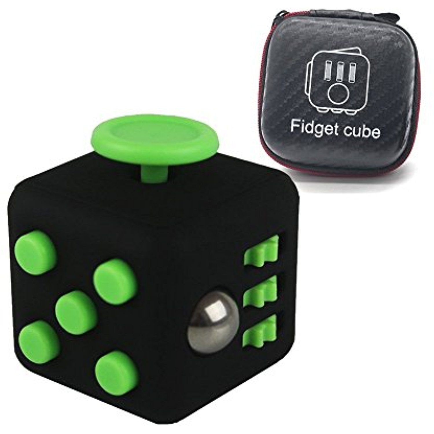 Relohas Fidget Cube,Relieves Stress and Anxiety for Adult and Children ,Anxiety Attention Release Toys With Button Best Gift for Fidgeters (Black and Green) ...