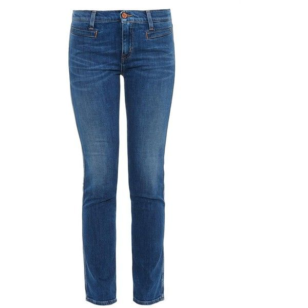 M.i.h Jeans Paris mid-rise skinny jeans (2.810 ARS) ❤ liked on Polyvore featuring jeans, mid indigo, denim skinny jeans, stretch jeans, cropped denim jeans, stretchy skinny jeans and cropped skinny jeans
