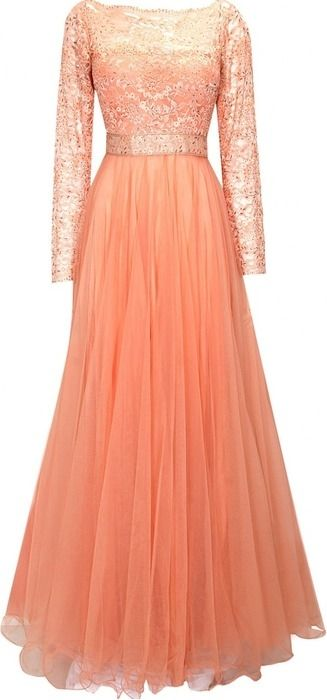 Roposo.com - Latest lace gowns with embellished online divani peach ...