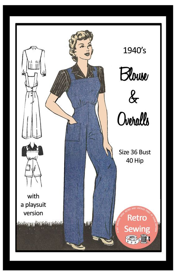 1940/'s Dungarees and Blouse Rosie the Riveter Sewing Pattern