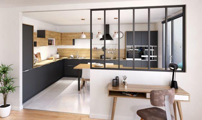 Cuisine avec une verrière style atelier   cuisine en 2019 ...