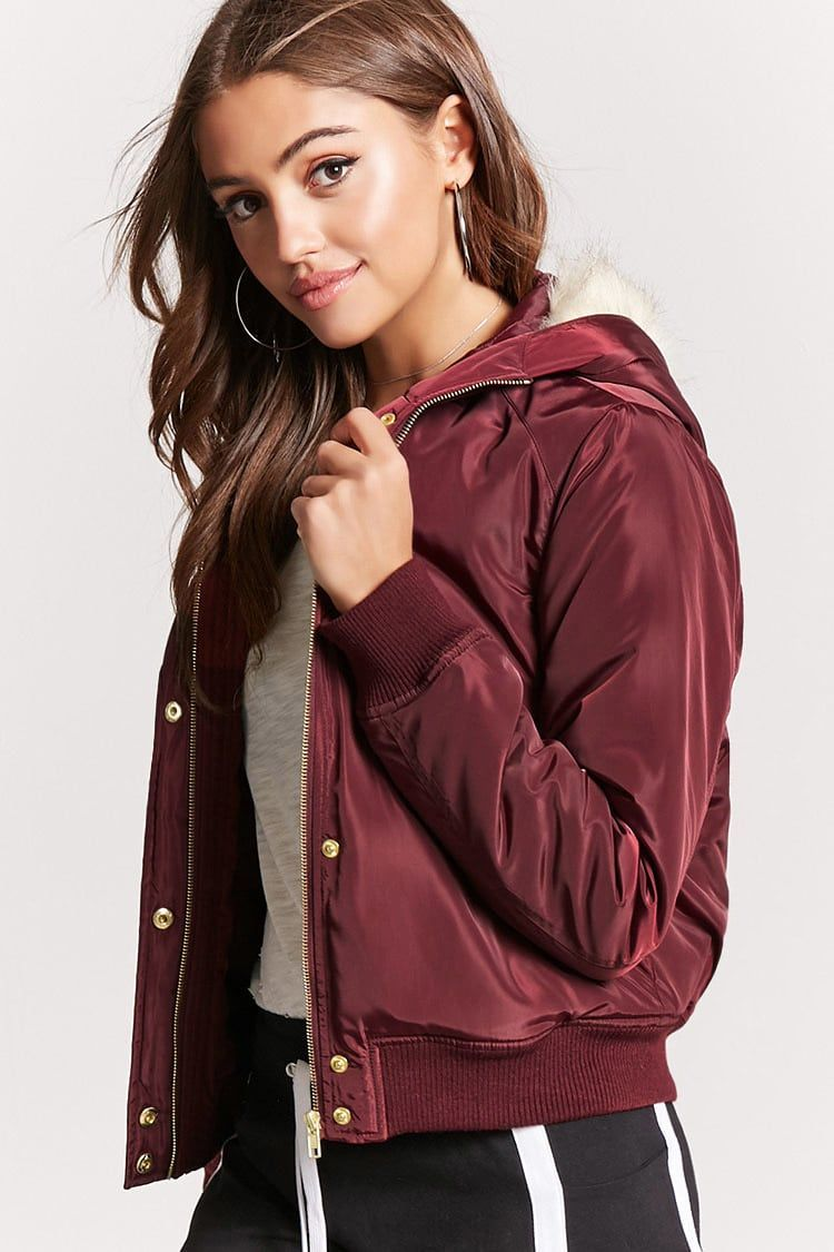 b801e08fa Product Name:Padded Faux Fur-Lined Hooded Bomber Jacket, Category ...