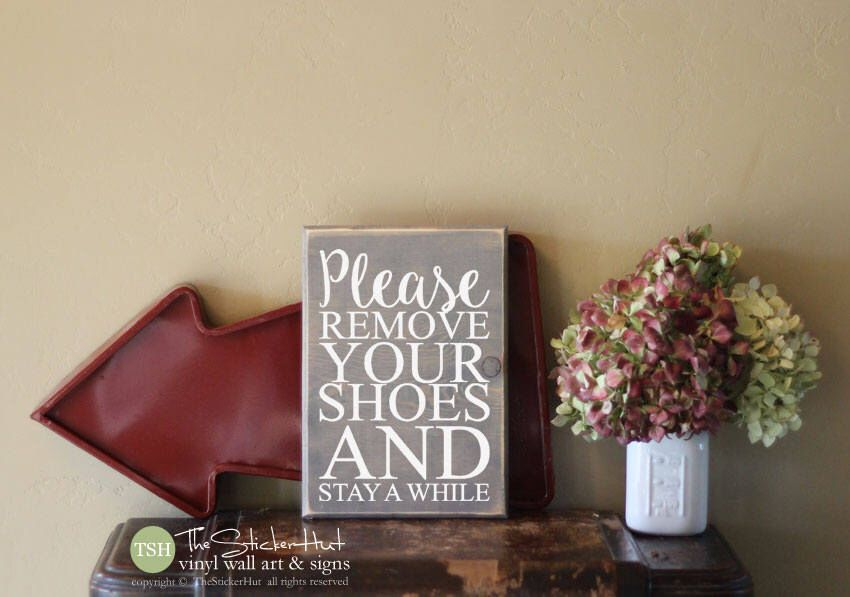 Excited to share this item from my #etsy shop: Please Remove Your Shoes and Stay a While Wood Sign - Rustic Distressed Wooden Sign - Wall Sign - Home Decor - Wood Signs S267 #housewares #homedecor #housewarming #homeliving #walldecor #wallhangings #paintedsign #woodensign #personalizedhome