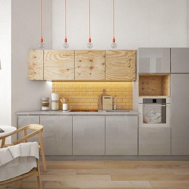 """Photo of @pontegy on Instagram: """"#kitchen #kitchendesing #3dmax #yellow #light #interiordesign #gray #plywood #graykitchen #designmilk #interior #design #home #furniture…"""""""