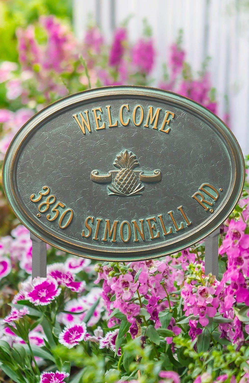 Designer oval lawn address plaque address plaque plaque