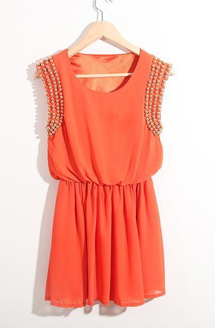 Orange High Waist Dress