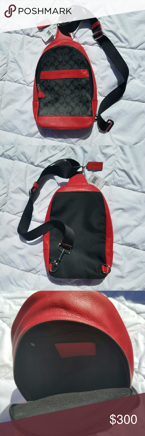 NWT COACH BACKPACK / MESSENGER BAG RED BLACK Awesome, i bought it to ride on my motorcycle, but just bought a backpack with 2 straps vs. The one.   My loss your gain..   Thanks! Coach Bags Backpacks